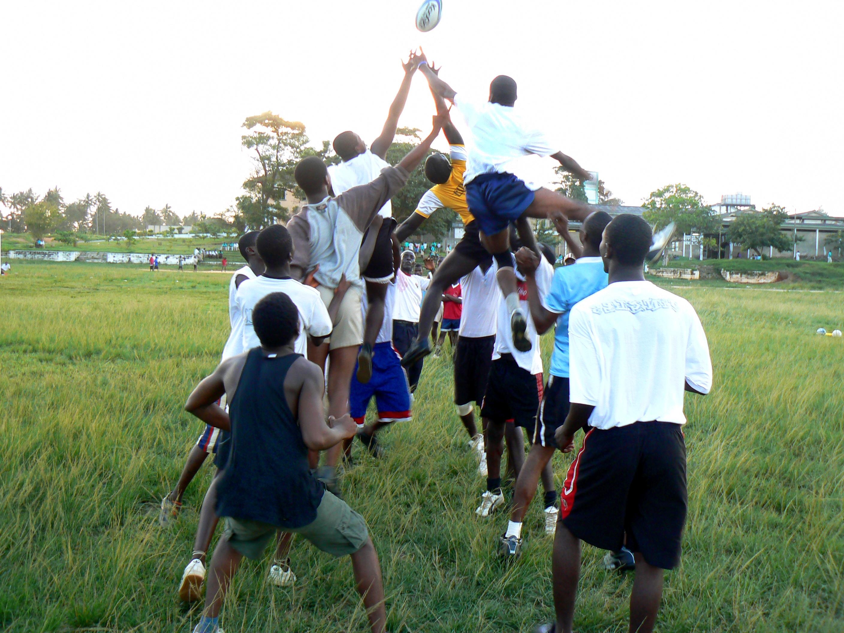 A line out during a friendly match organised by a volunteer working as a rugby coach in Ghana